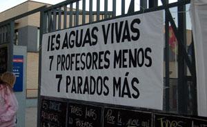 IES AGUAS VIVAS. 7 PROFESORES MENOS = 7 PARADOS MÁS