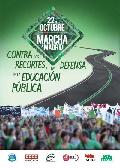 MARCHA A MADRID CONTRA LOS RECORTES, EN DEFENSA DE LA EDUCACIÓN PÚBLICA