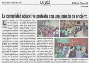 La comunidad educativa protesta con una jornada de encierro