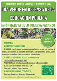 DÍA VERDE EN DEFENSA DE LA EDUCACIÓN PÚBLICA EN AZUQUECA DE HENARES (GU)