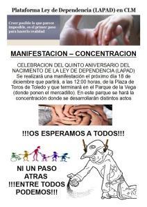 MANIFESTACIÓN - CONCENTRACIÓN PLATAFORMA LEY DE DEPENDENCIA (LAPAD) EN CLM