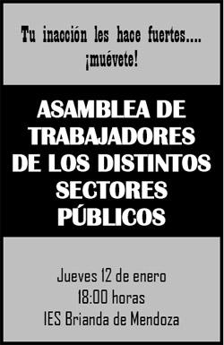 Asamblea de trabajadores de los distintos sectores públicos