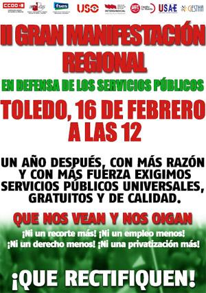 16F Manifestación regional en defensa de los servicios públicos